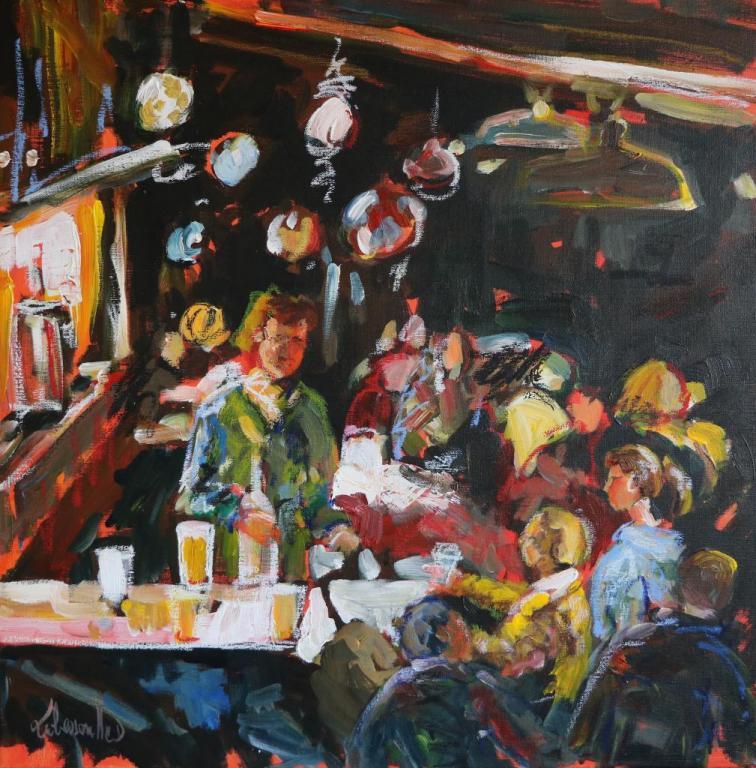 Pub Irlandais. 50X50.  Dominique LABESSOULHE