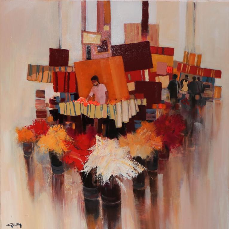 Rayures. 60X60. Bernard GUILAIN.