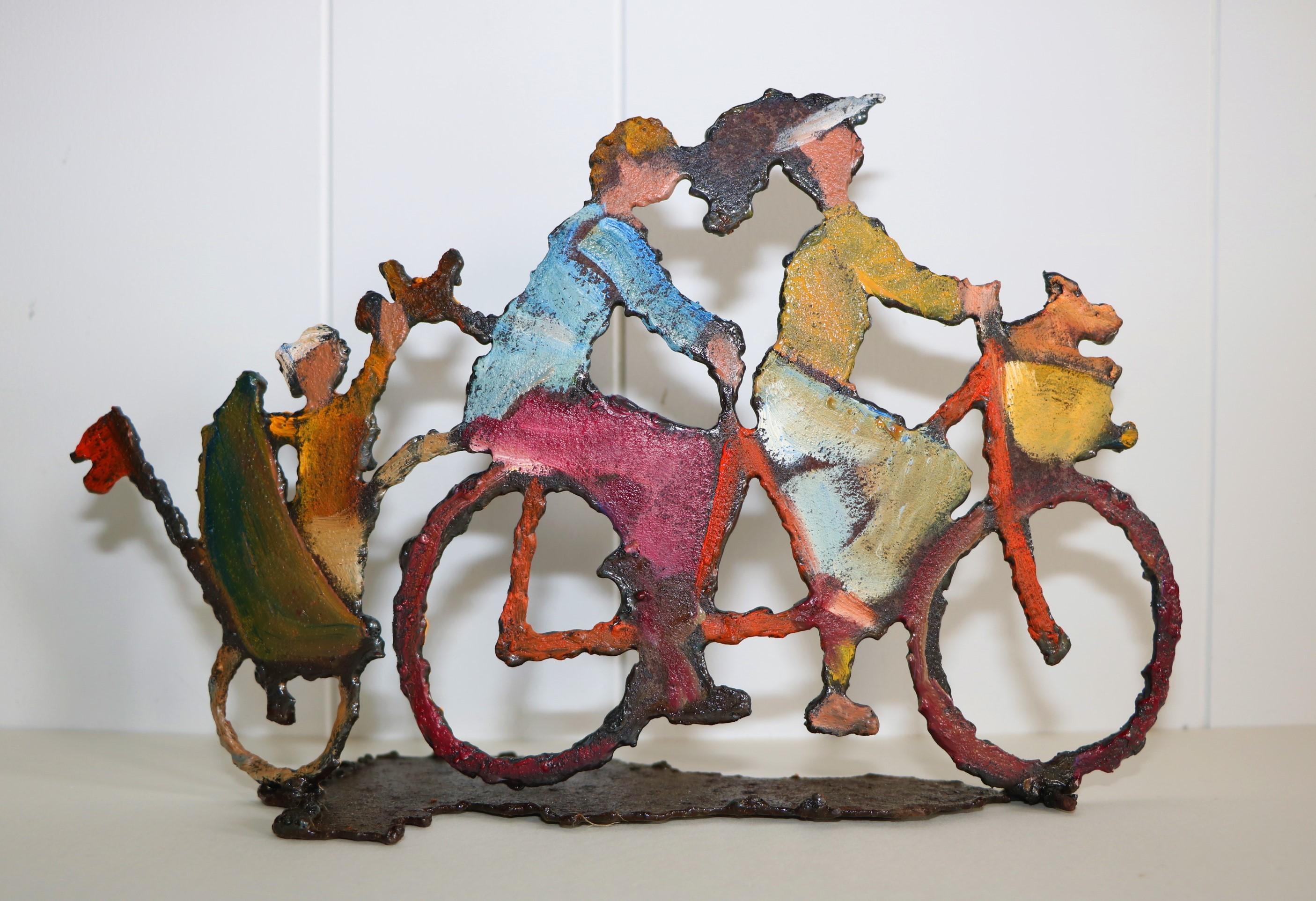 Tandem. Sculpture sur tôle. Dominique LABESSOULHE.
