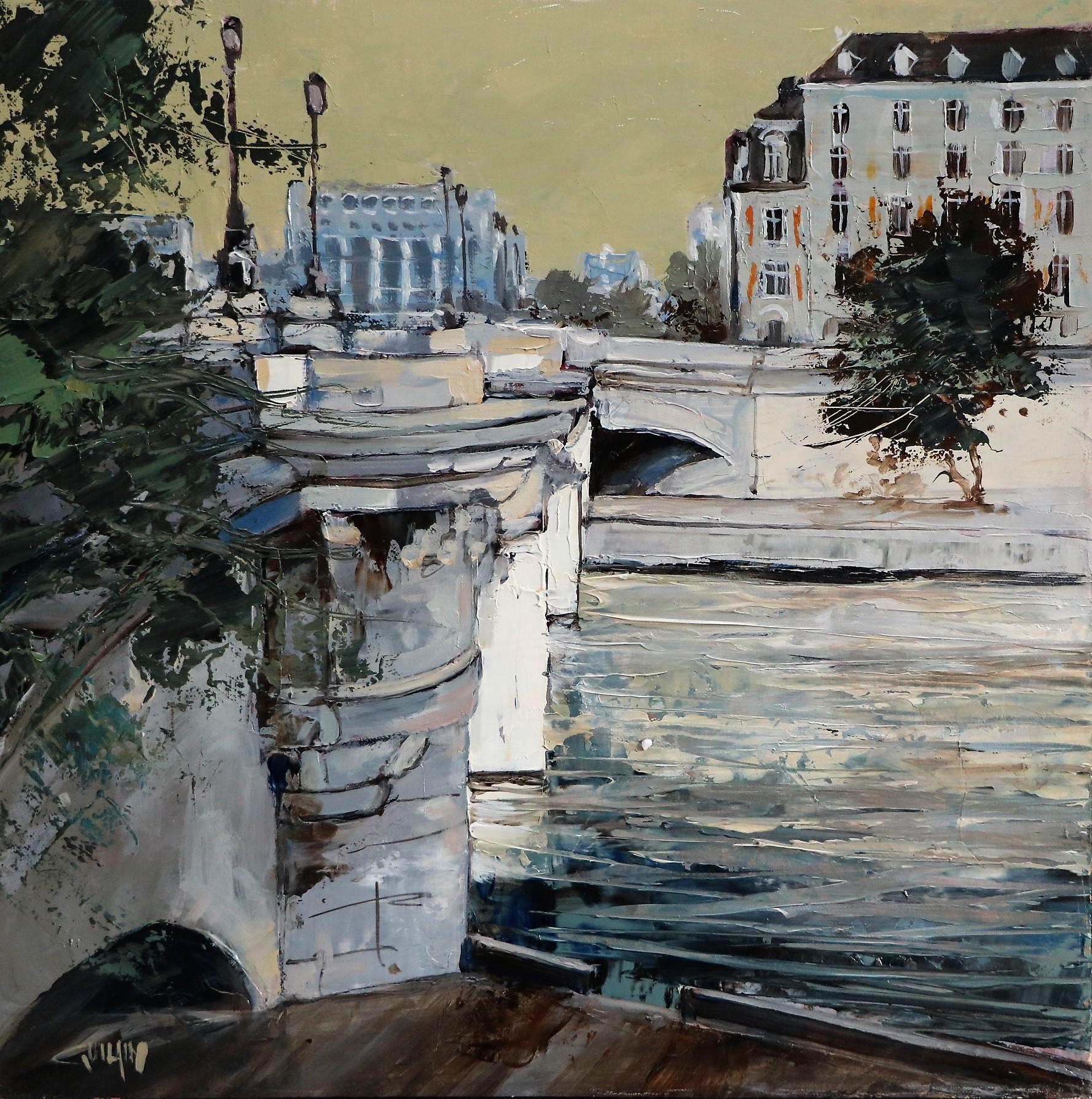Un pont à Paris. 30X30. Bernard GUILAIN.