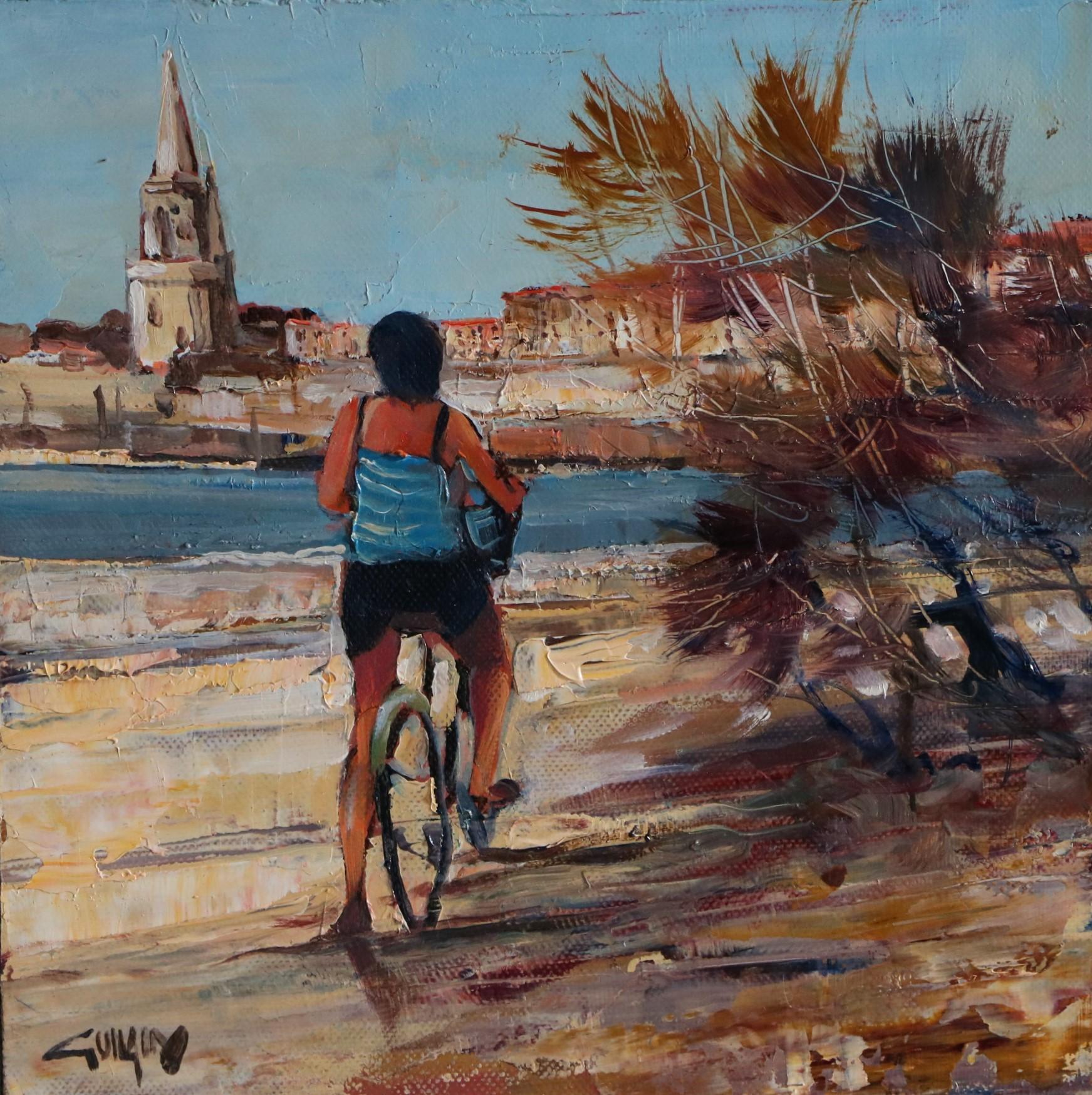 Une petite pause... La Rochelle. 25X25. Bernard GUILAIN.