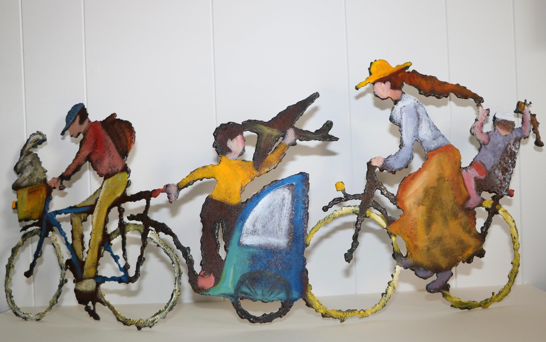 Vélo planeur. Sculpture sur tôle. Dominique LABESSOULHE..