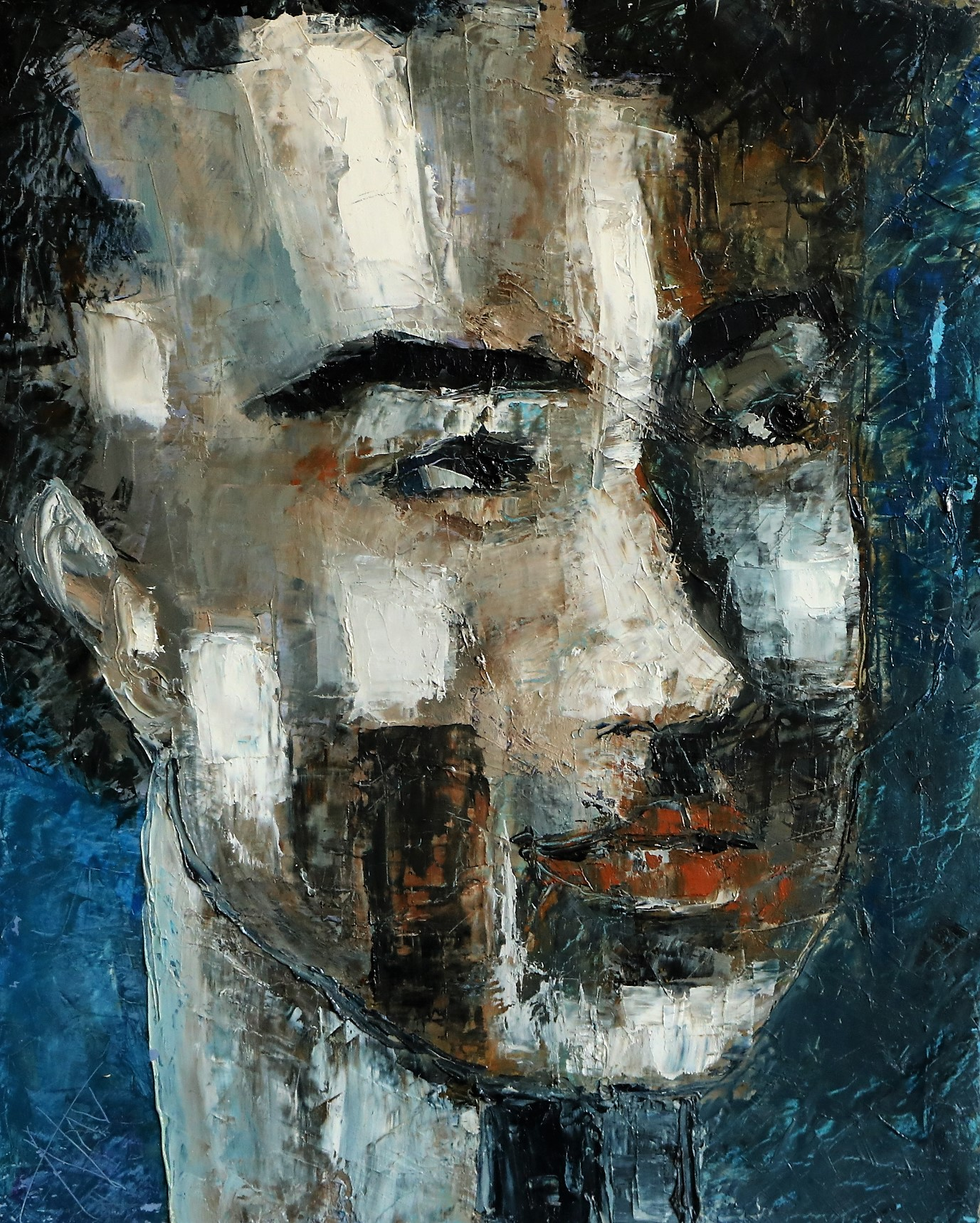 Visage masculin bleu. 41X33 -6F-. Nadine SALEM